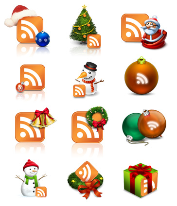 Free Christmas RSS icons for